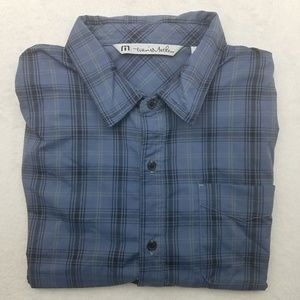 Travis Mathew Blue Plaid Short Sleeve Shirt XL
